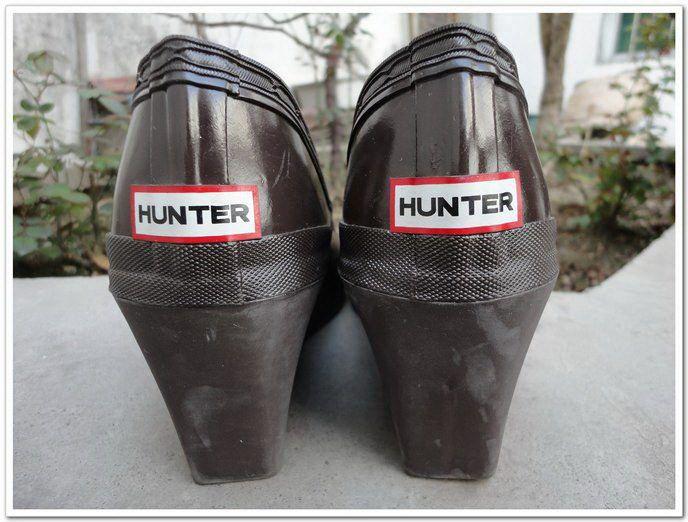hunter坡高跟浅口款棕色绝版[雨鞋雨靴女